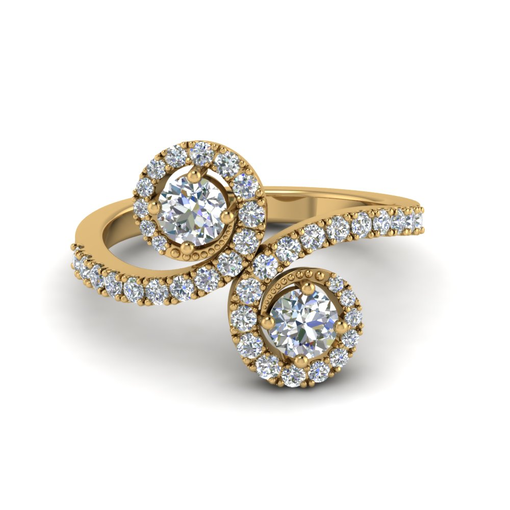 Swirl Halo 2 Stone Diamond Engagement Ring In 14K Yellow Gold