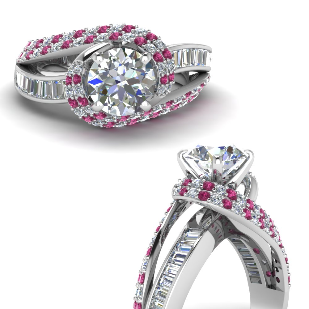 swirl halo moissanite and pink sapphire engagement ring with baguette in FD67813RORGSADRPIANGLE3 NL WG