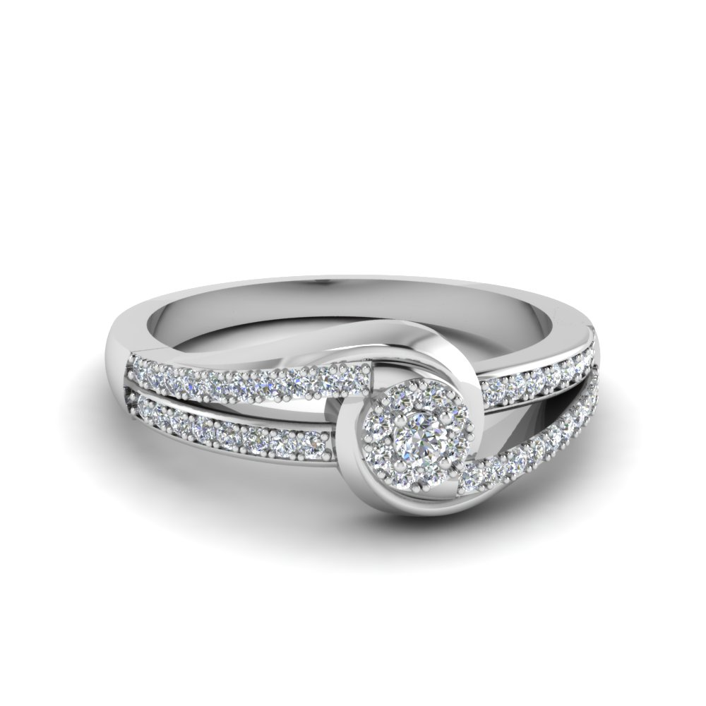 swirl halo diamond promise ring in FD8552ROR NL WG