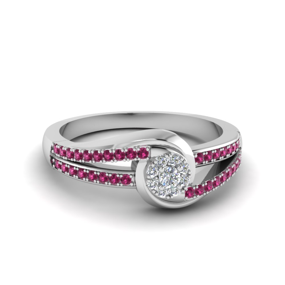 swirl halo diamond promise ring with pink sapphire in FD8552RORGSADRPI NL WG