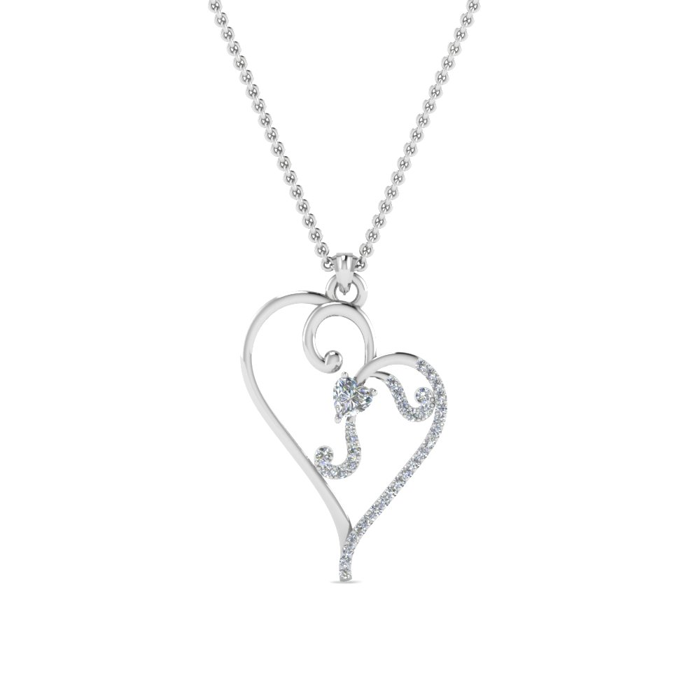 Swirl Heart Design Pendant For Womens