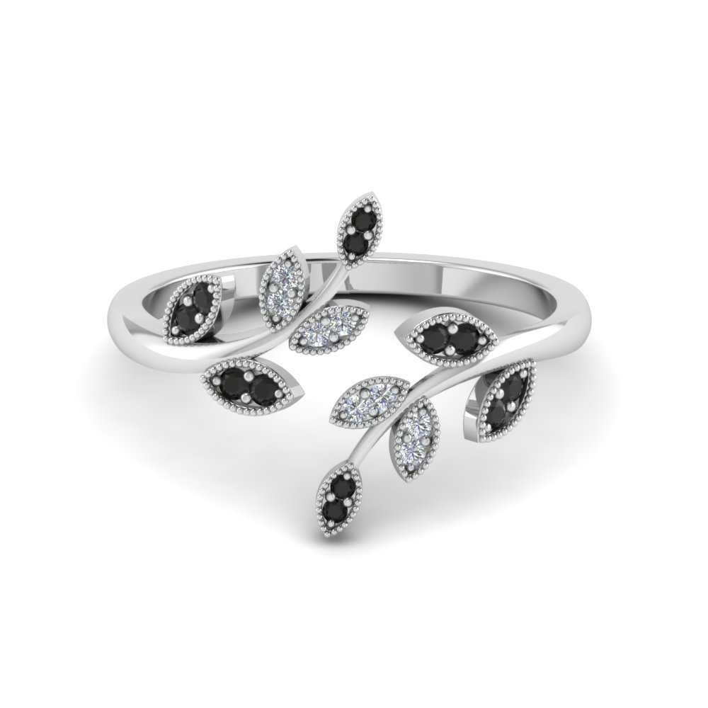 Swirl Leaf Black Diamond Promise Ring