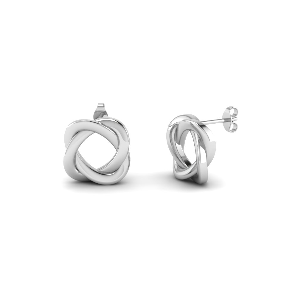 Swirl Loop Stud Earrings In 14k White Gold