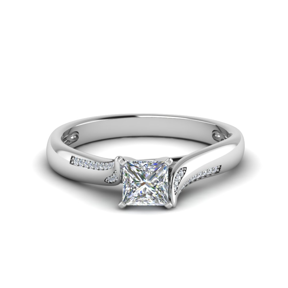 Princess Cut Swirl Pave Diamond Ring