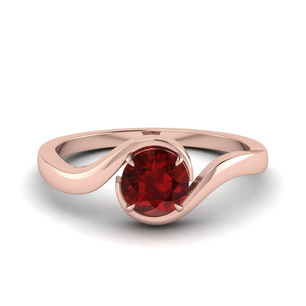 Swirl Ruby Solitaire Wedding Ring