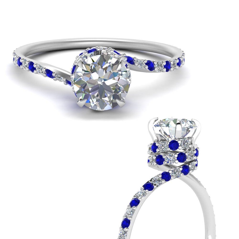 swirl under halo diamond engagement ring with sapphire in FD1098RORGSABLANGLE3 NL WG