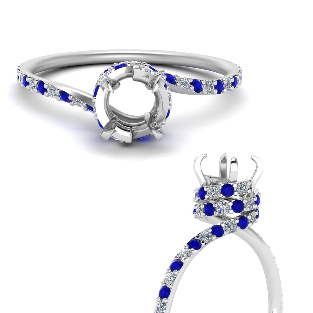 swirl under halo semi mount diamond engagement ring with sapphire in FD1098SMRGSABLANGLE3 NL WG