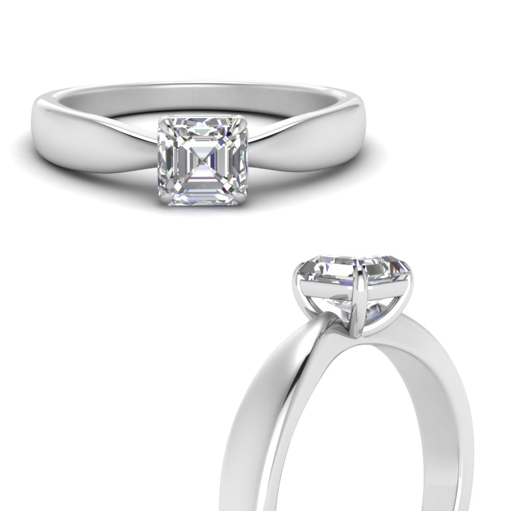 Asscher Cut Solitaire Rings