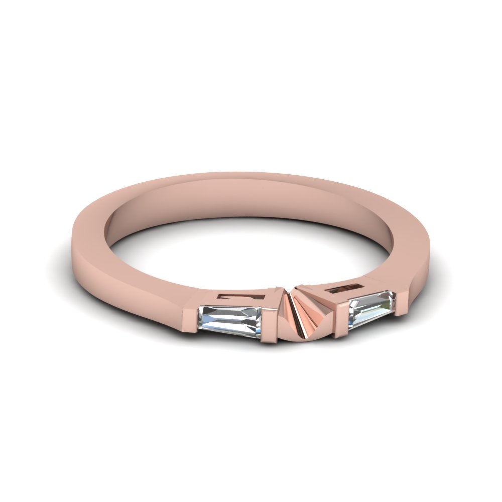 tapered baguette diamond womens wedding band in 14K rose gold FDENS194B NL RG
