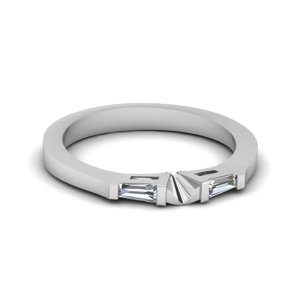 tapered baguette diamond womens wedding band in 14K white gold FDENS194B NL WG