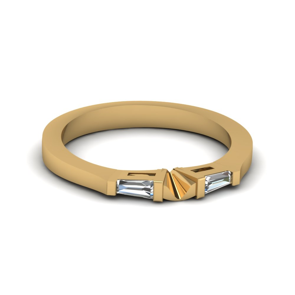 Tapered Baguette Diamond Womens Wedding Band In 14k Yellow Gold Fdens194b Nl Yg