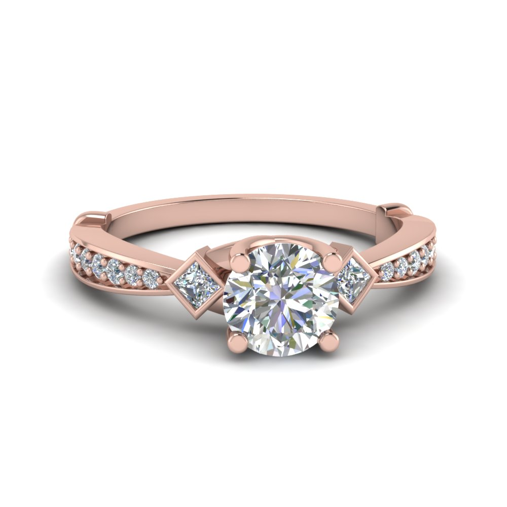 tapered diamond 3 stone engagement ring in 14K rose gold FD8624ROR NL RG
