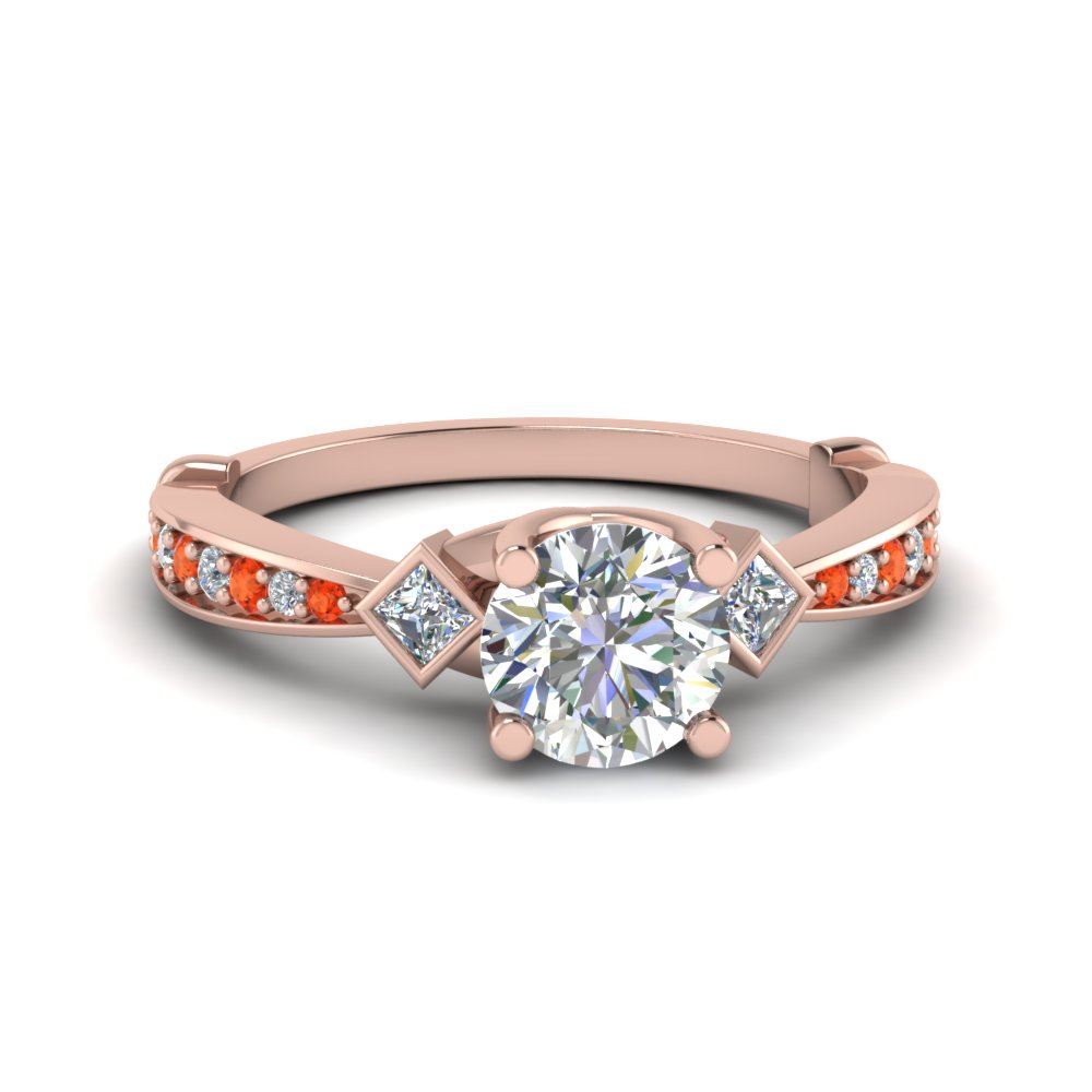 tapered diamond 3 stone engagement ring with orange topaz in 14K rose gold FD8624RORGPOTO NL RG