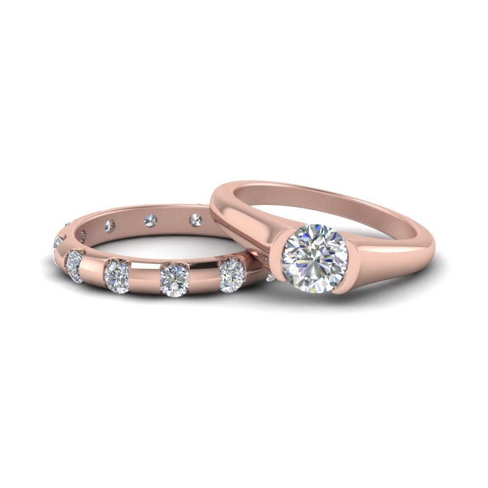14K Rose Gold Wedding Ring Set