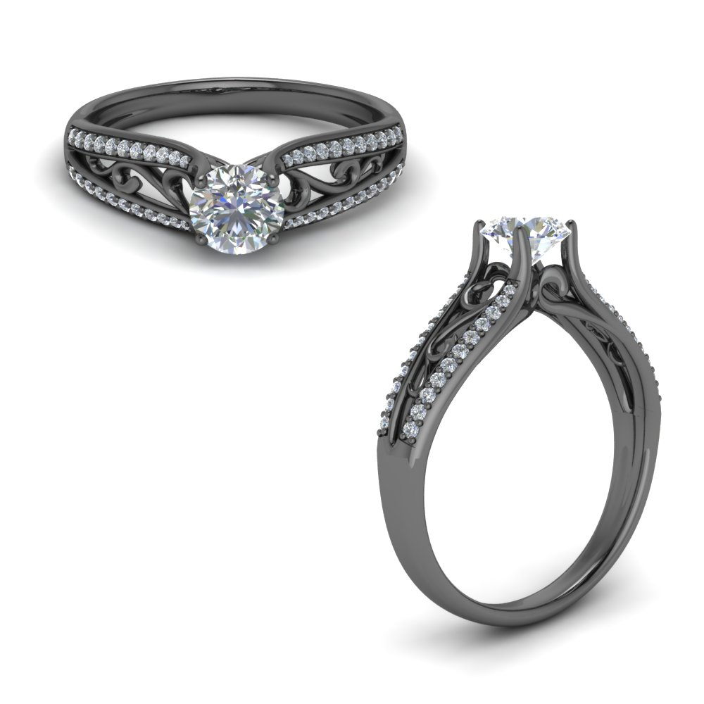 tapered filigree diamond engagement ring in FD122032RORANGLE1 NL BG