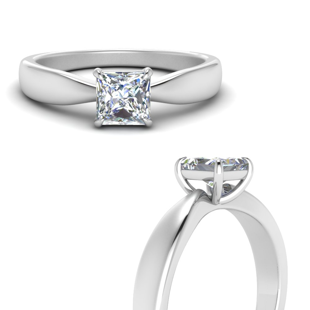 Tapered Bow Solitaire Ring