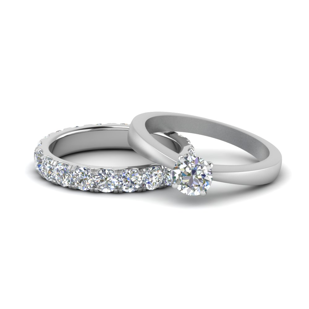 Tapered Solitaire Eternity Wedding Set