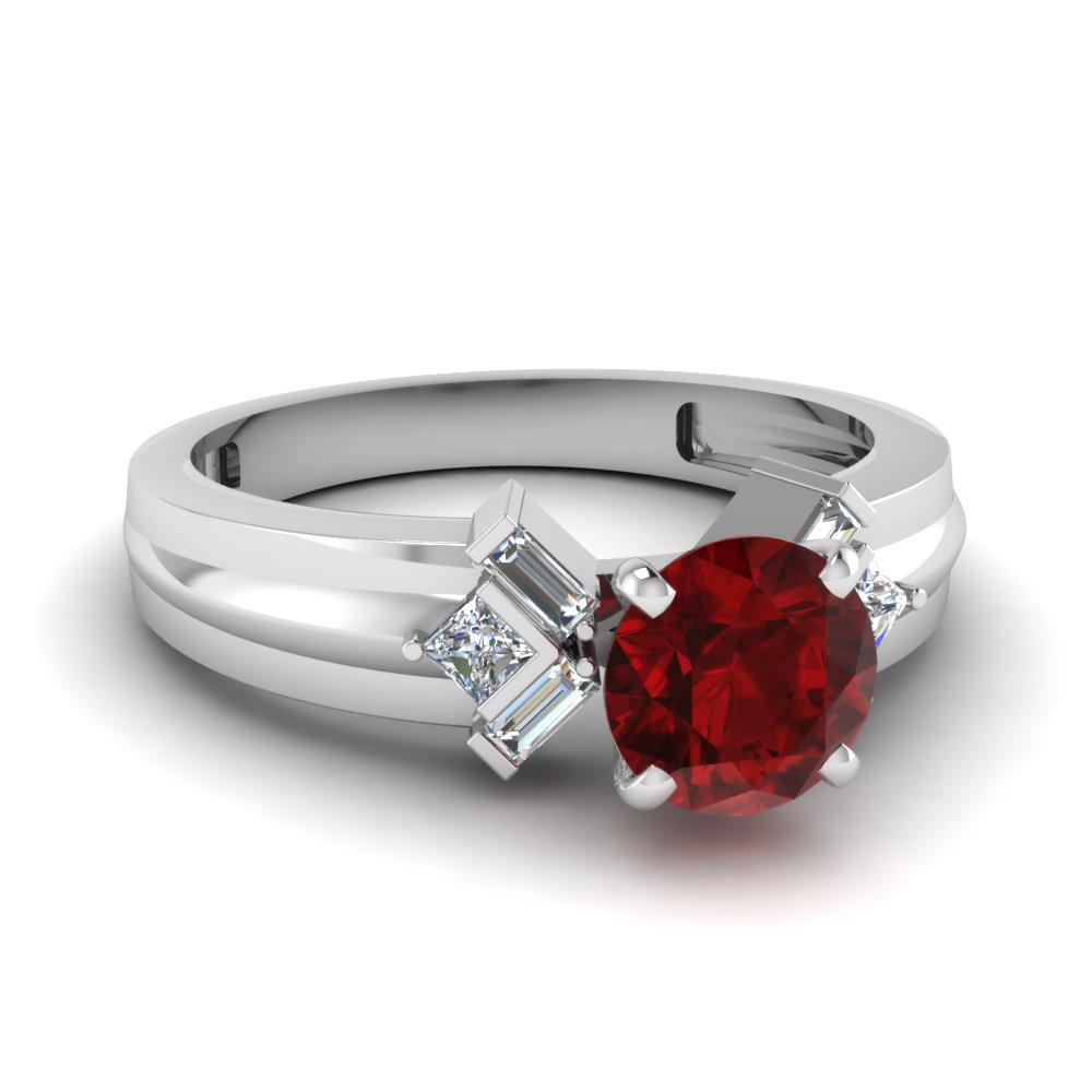 tapered ruby stone engagement ring with baguette in FD120699RORGRD NL WG