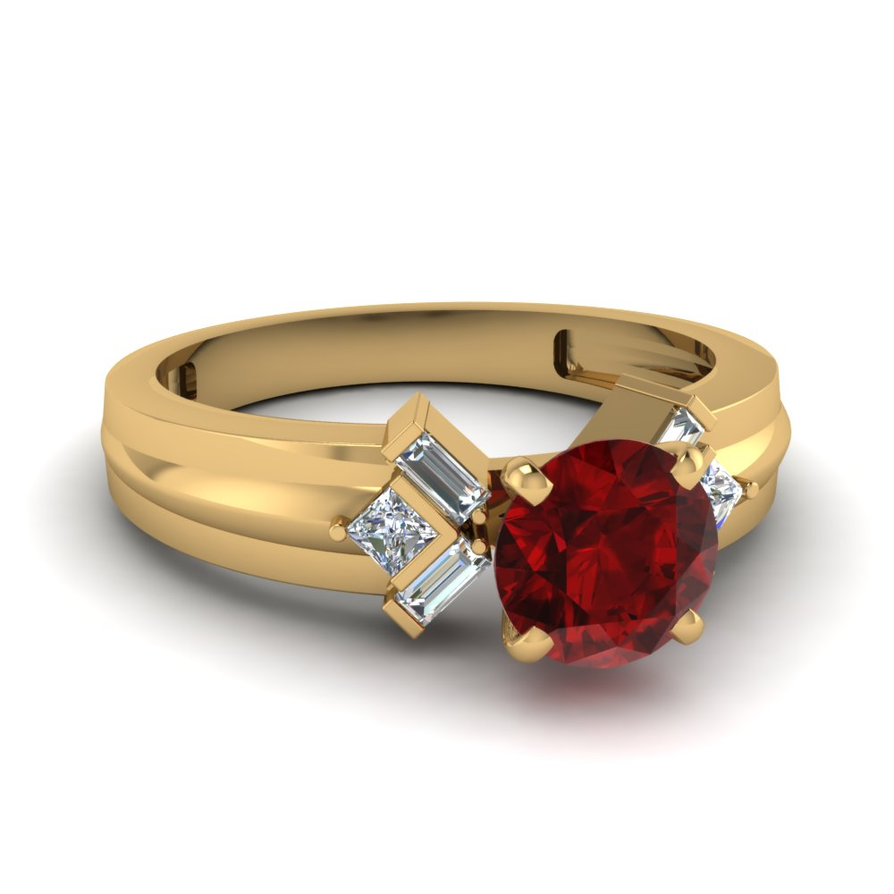 tapered ruby stone engagement ring with baguette in FD120699RORGRD NL YG