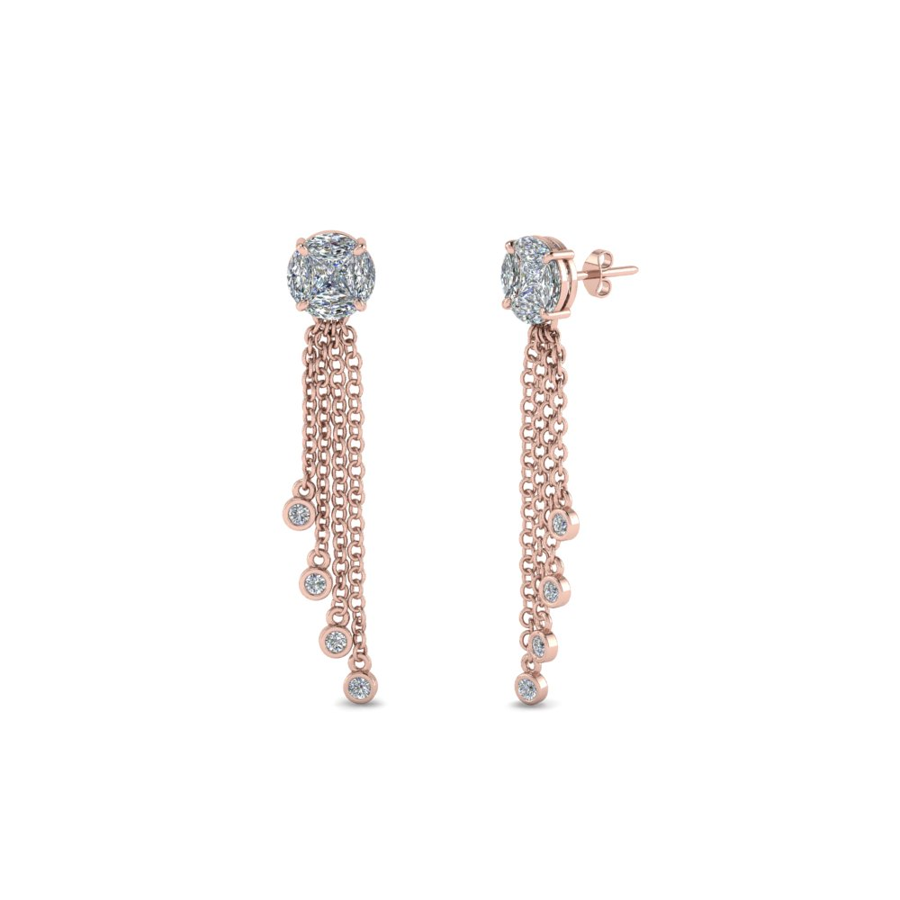 Womens Tassel Diamond Dangle Earring