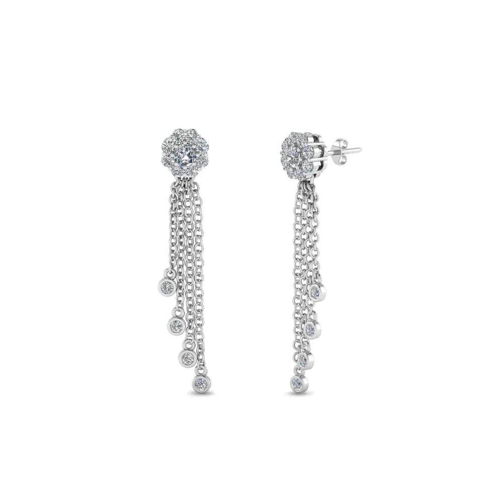 Tassel Halo Diamond Dangle Earring In 14K White Gold  f88225258f