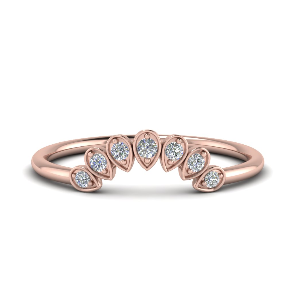 Pink Gold Teardrop Curved Band