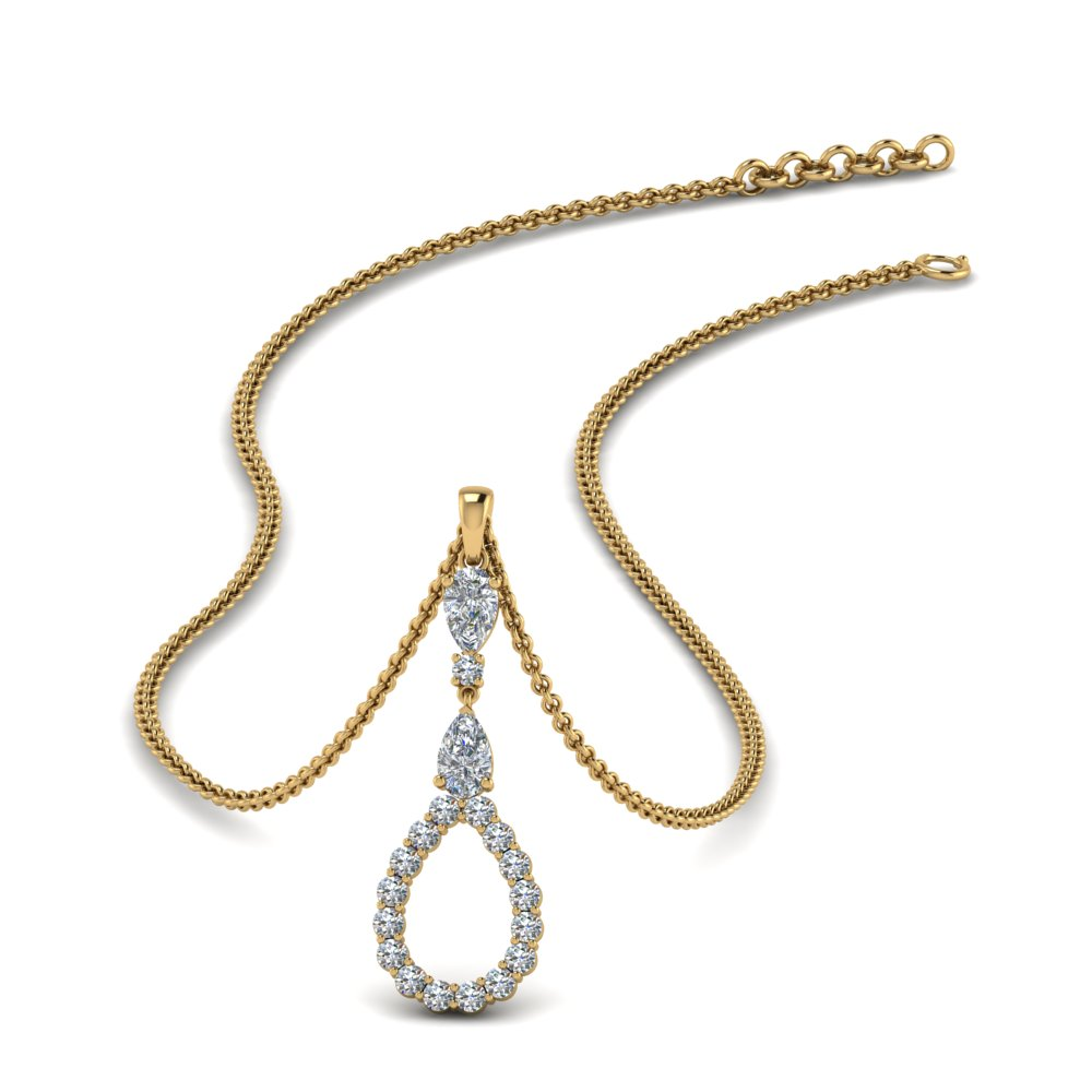 teardrop diamond drop pendant necklace in FDPD9049 NL YG
