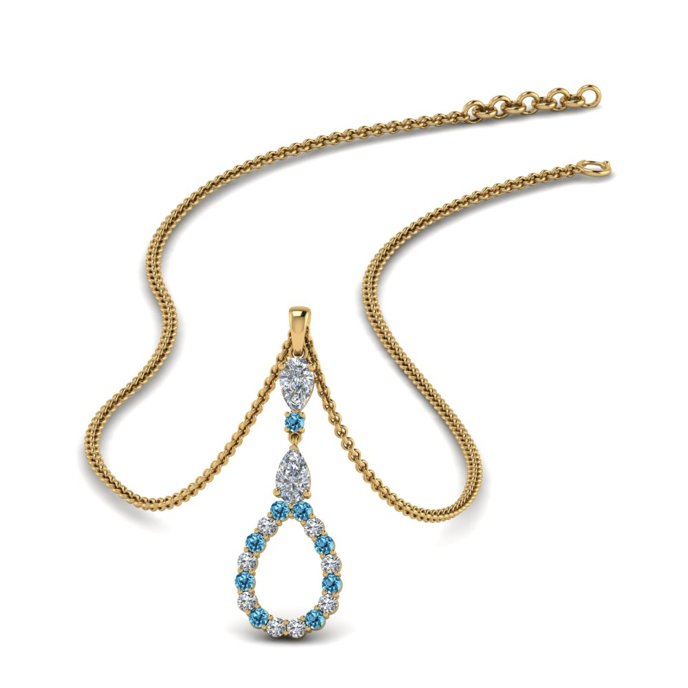 teardrop diamond drop pendant necklace with blue topaz in FDPD9049GICBLTO NL YG