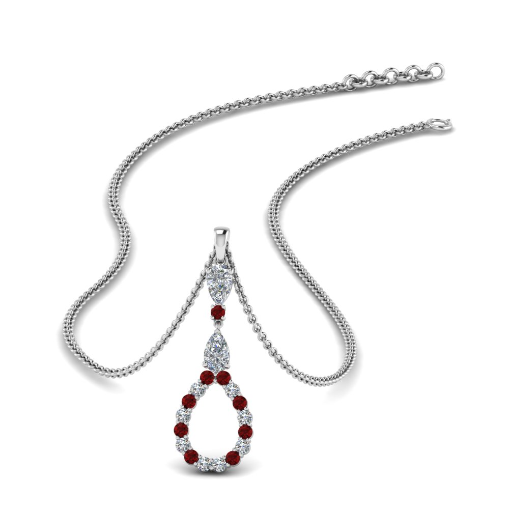 teardrop diamond drop pendant necklace with ruby in FDPD9049GRUDR NL WG
