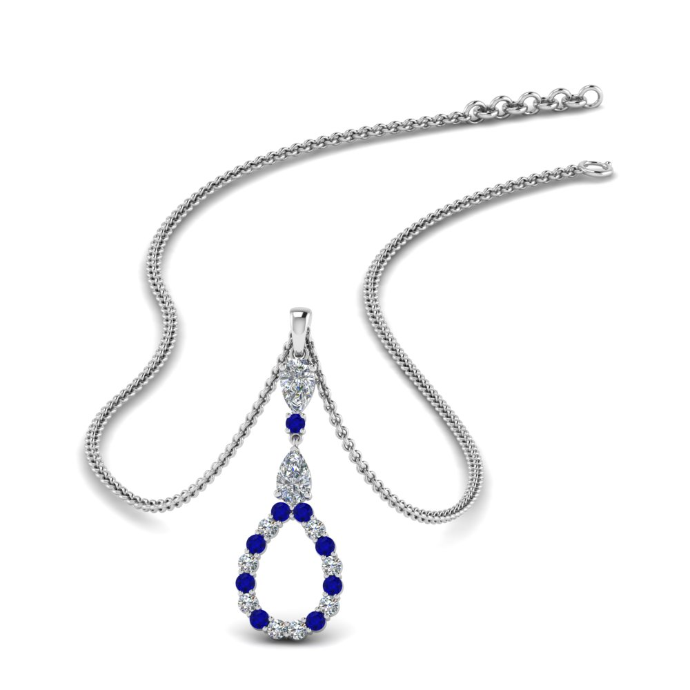 teardrop diamond drop pendant necklace with sapphire in FDPD9049GSABL NL WG