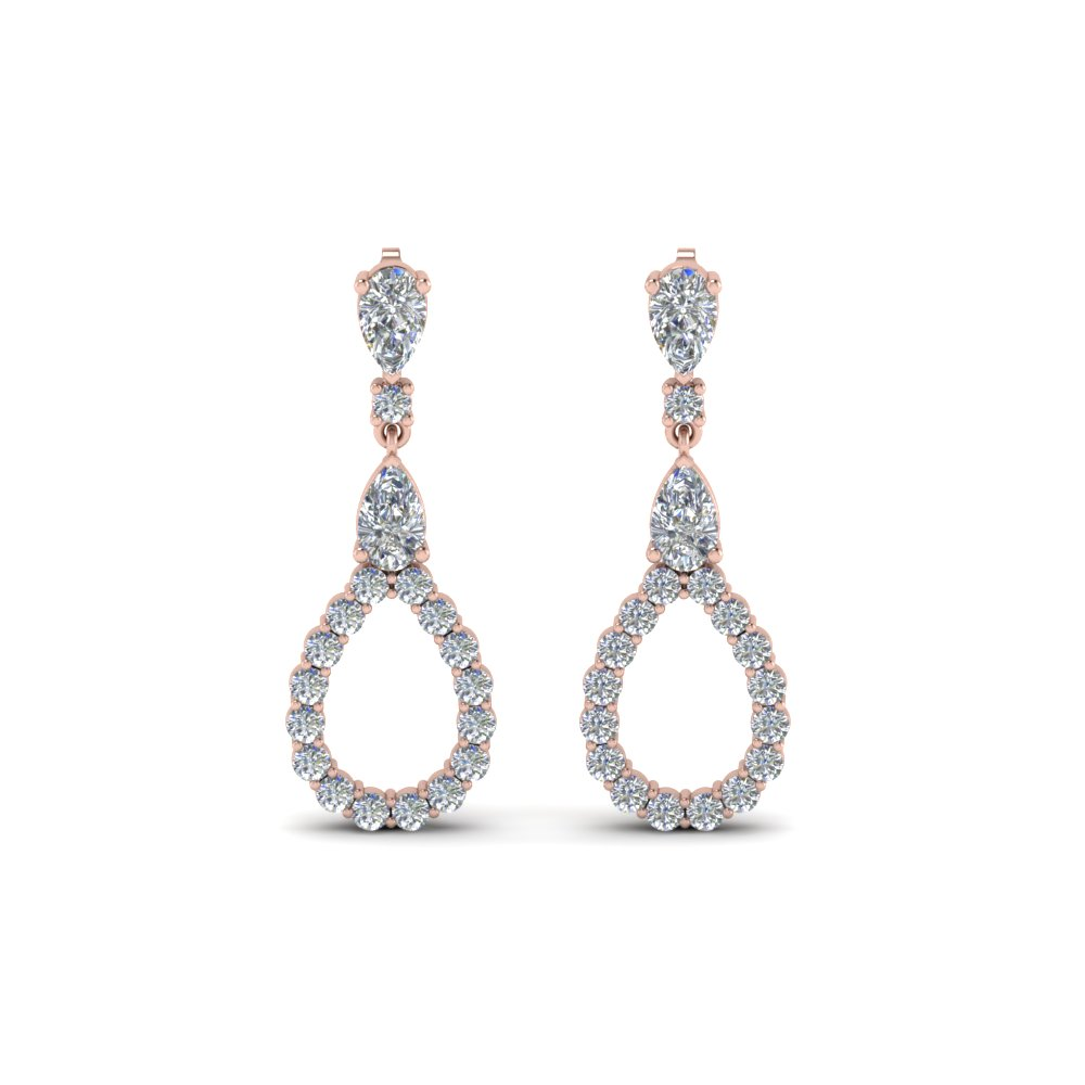 Pear And Round Cut Diamond Earring