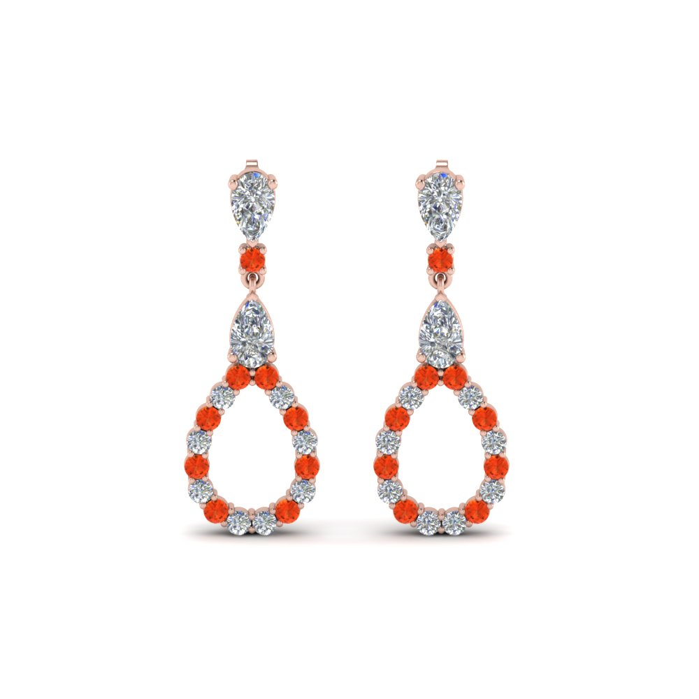 teardrop diamond earring for women with orange topaz in 14K rose gold FDEAR8106GPOTOANGLE1 NL RG