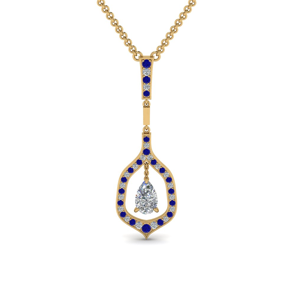 teardrop diamond necklace pendant with sapphire in FDPD8489PEGSABL NL YG