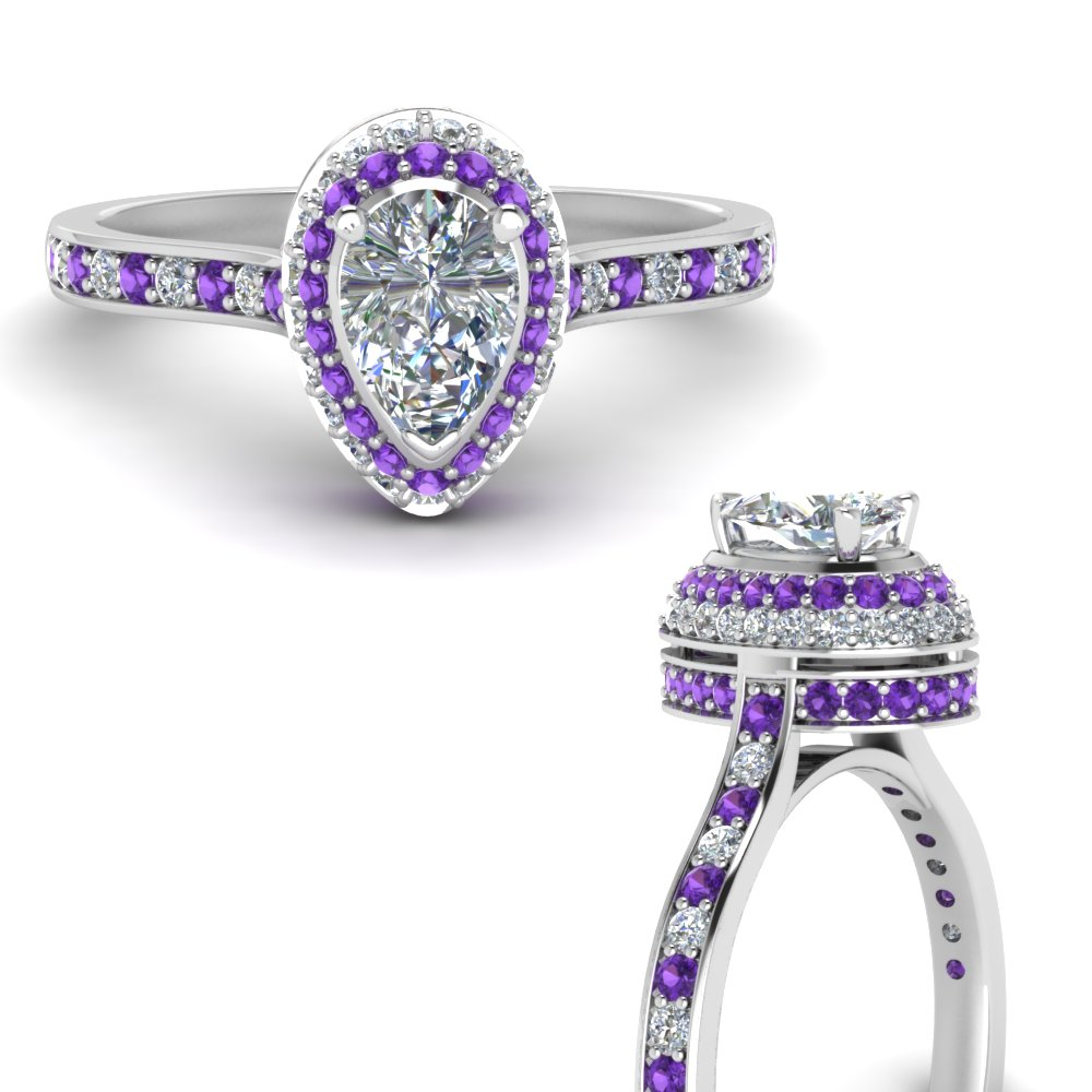 teardrop under halo high set diamond engagement ring with violet topaz in FDENS1692PERGVITOANGLE3 NL WG.jpg