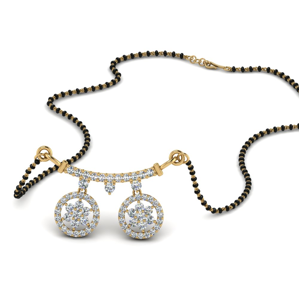 14K Yellow Gold Diamond Mangalsutra With Beads