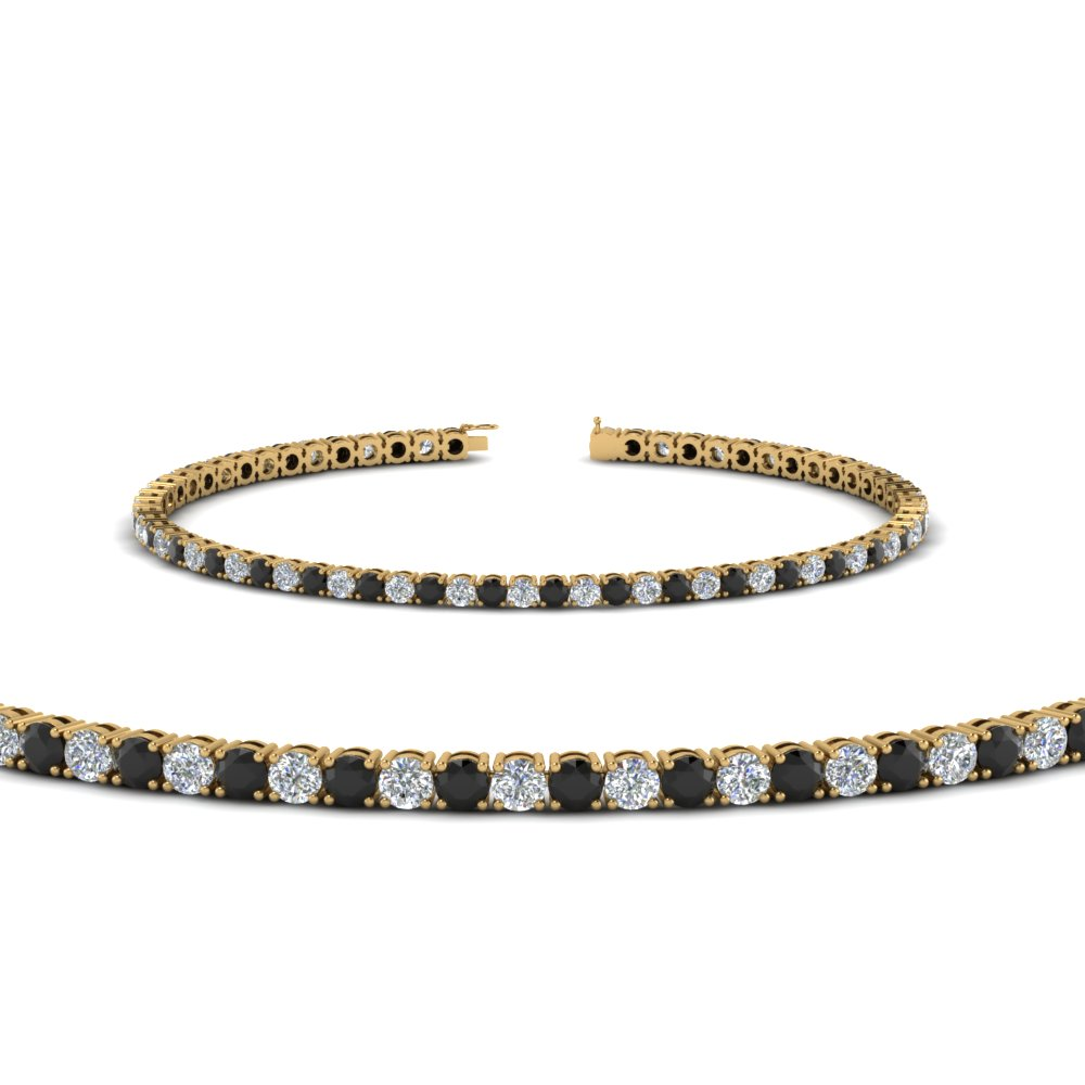 tennis bracelet for women with black diamond (3 ctw.) in FDBRC8636 3CTGBLACK NL YG