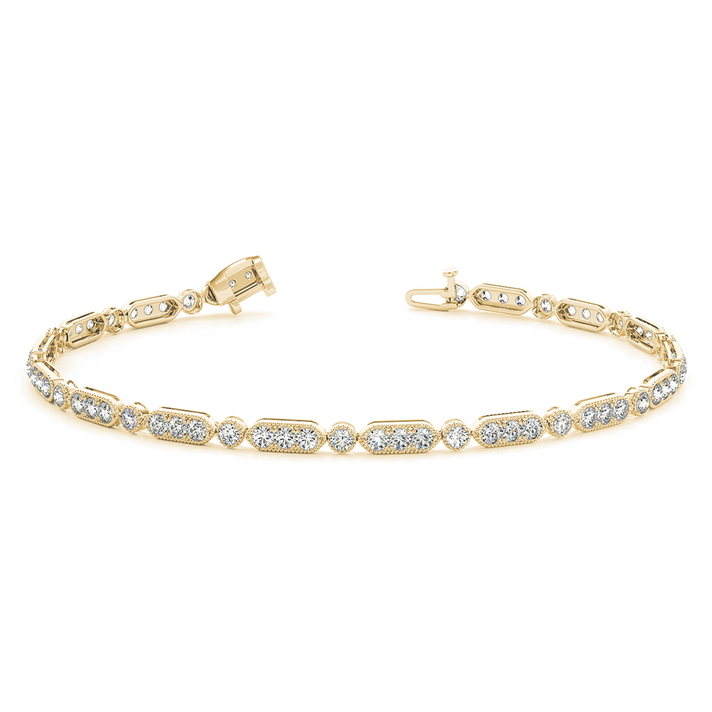 tennis pave diamond bracelet in FDOBR70295 NL YG