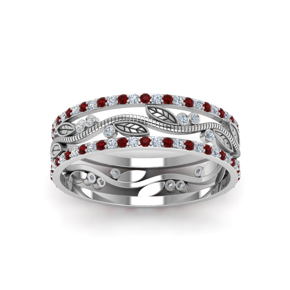 Thick Wedding Band Diamond With Ruby In 14K White Gold | Fascinating ...