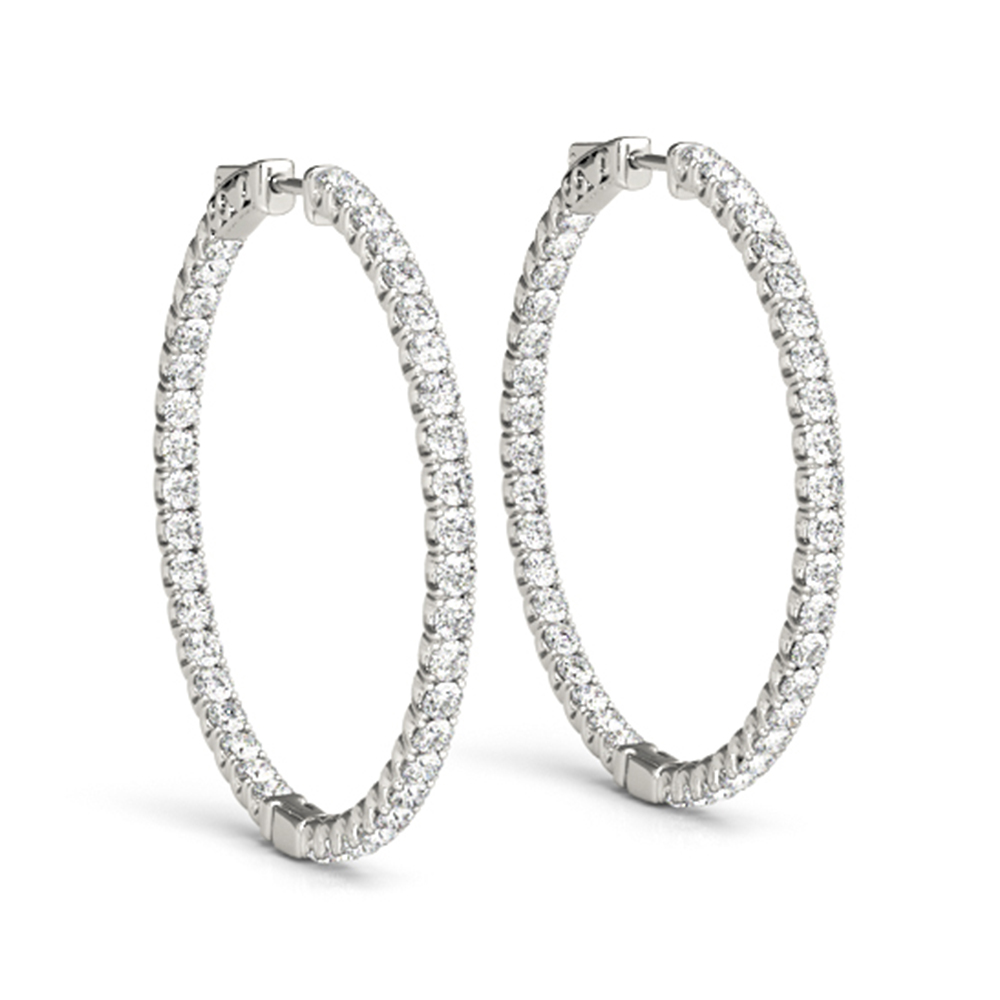 Hoop Earrings With White Diamond In 14k White Gold