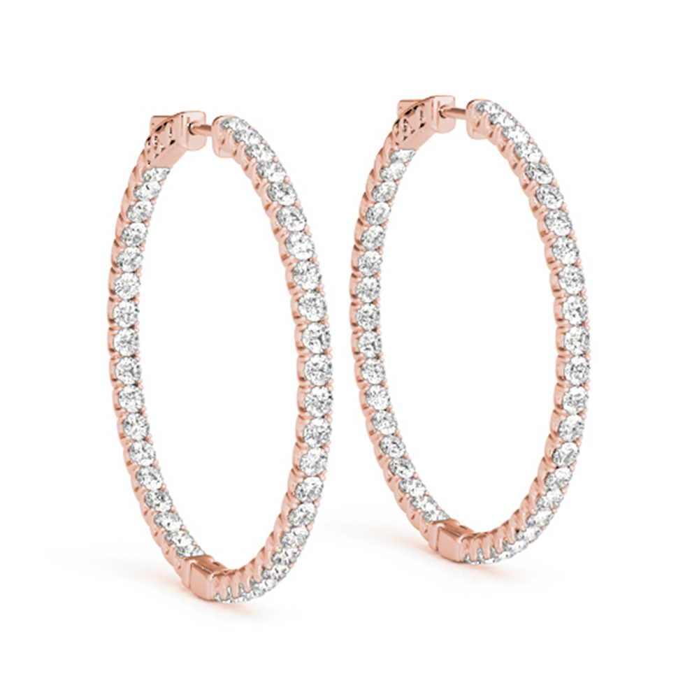 Thin In And Out Diamond Hoop Earring 18k Rose Gold Fdoear41005angle1 Nl Rg