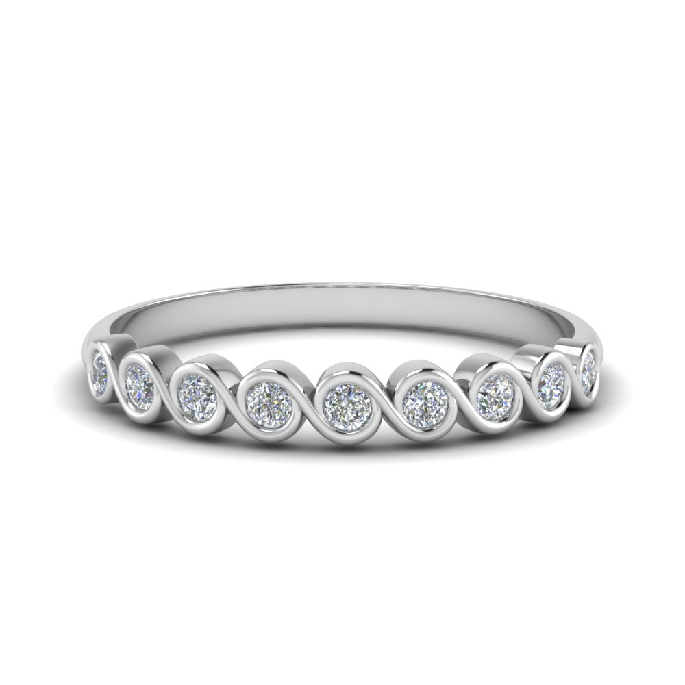 0.40 ct. thin bezel set round diamond anniversary band in 14K white gold FD123594RO(2.25MM) NL WG