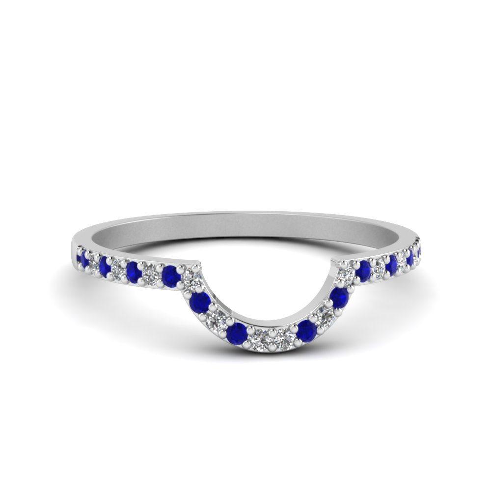 Diamond & Sapphire Curved Band