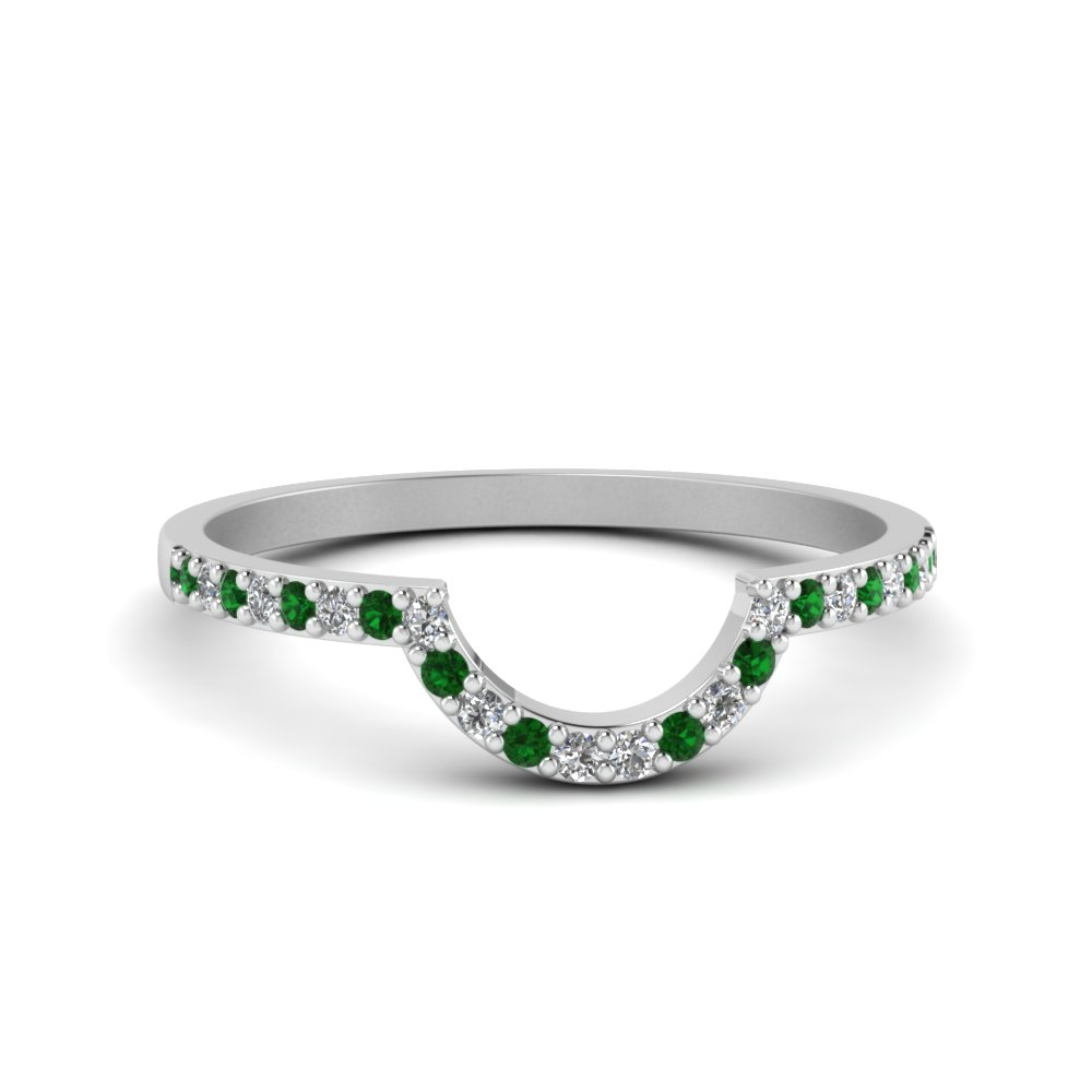 Thin Curve Emerald Diamond Band