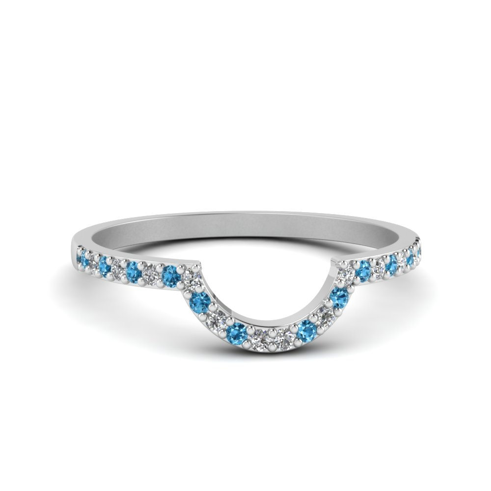 Thin Curve Diamond Band With Ice Blue Topaz In 950 Platinum