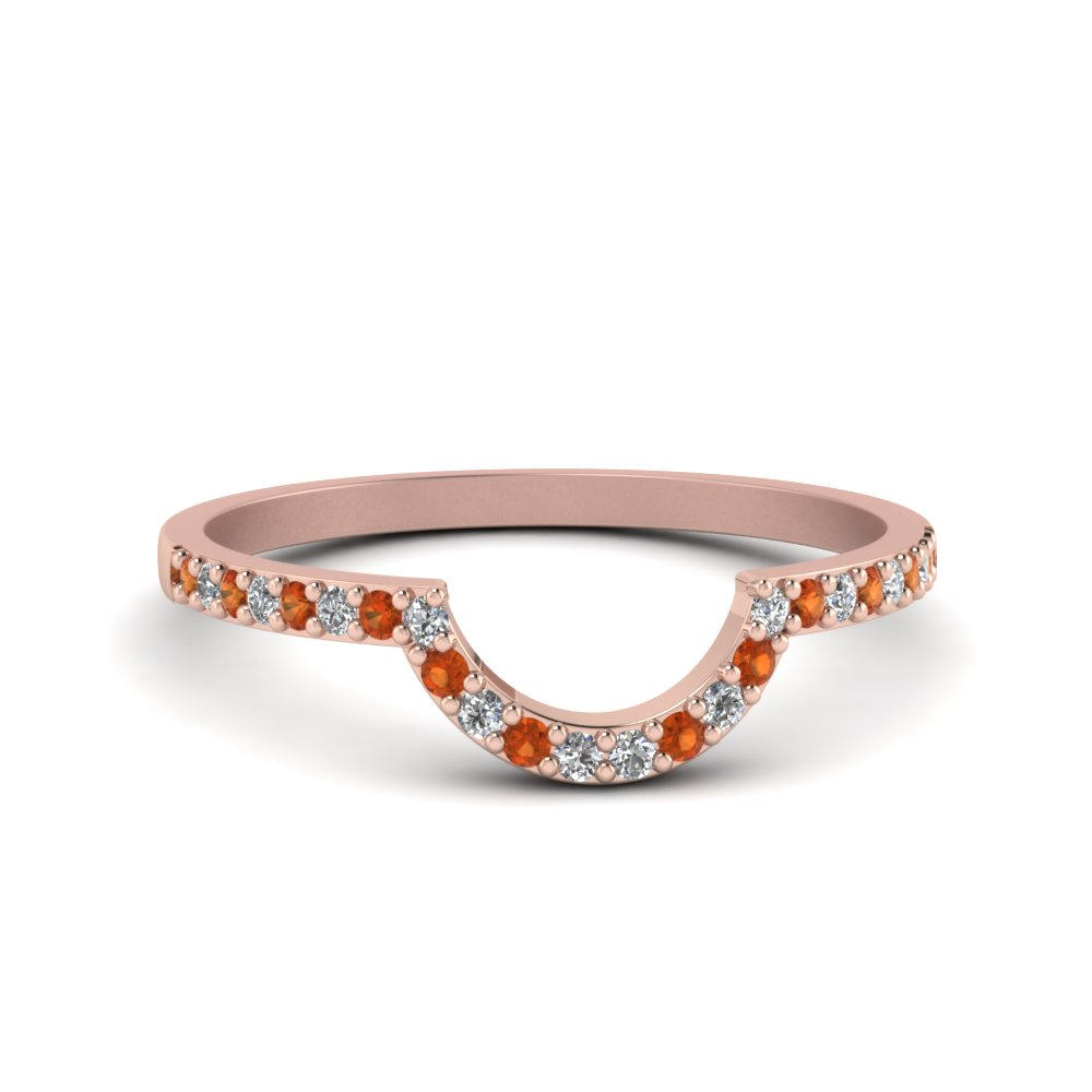 Womens Orange Sapphire Curved Band