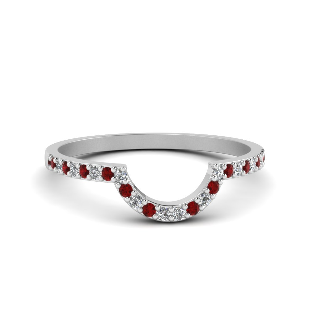 Curved White Gold  Ruby Ring