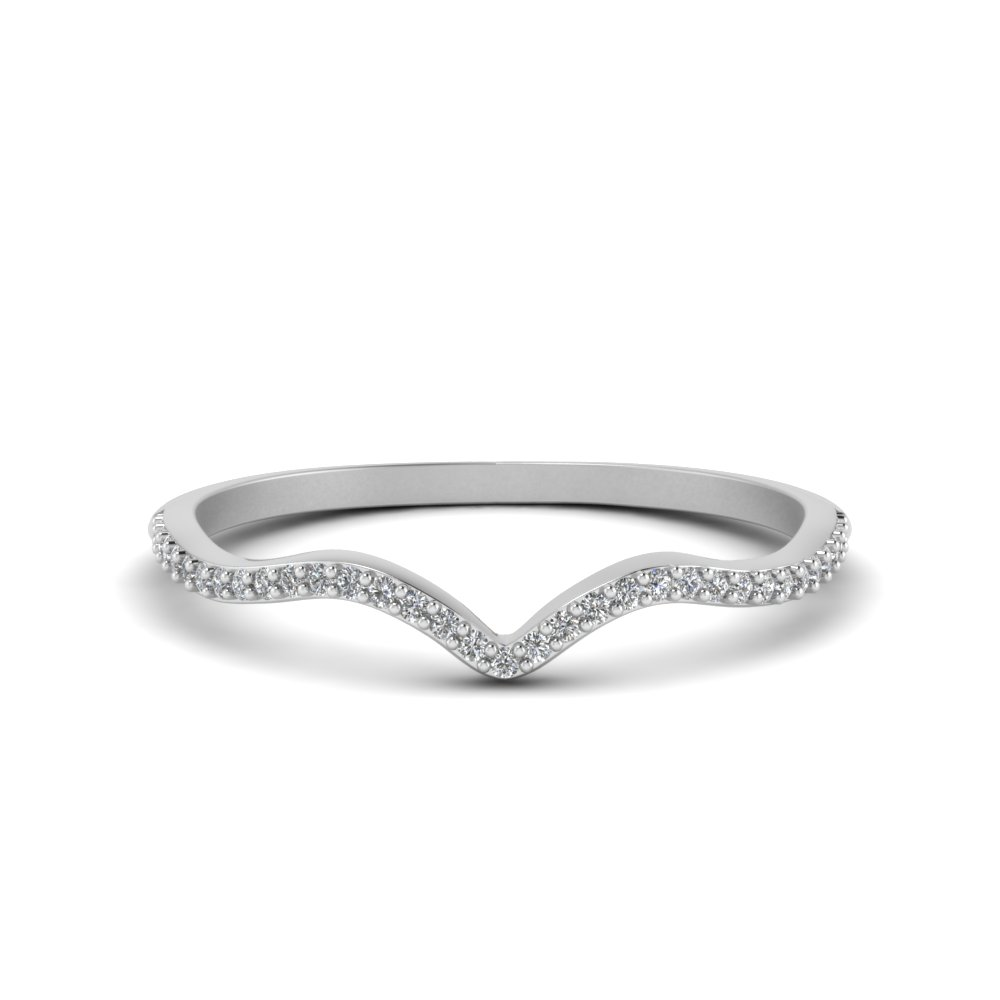 Thin Contour Pave Wedding Band