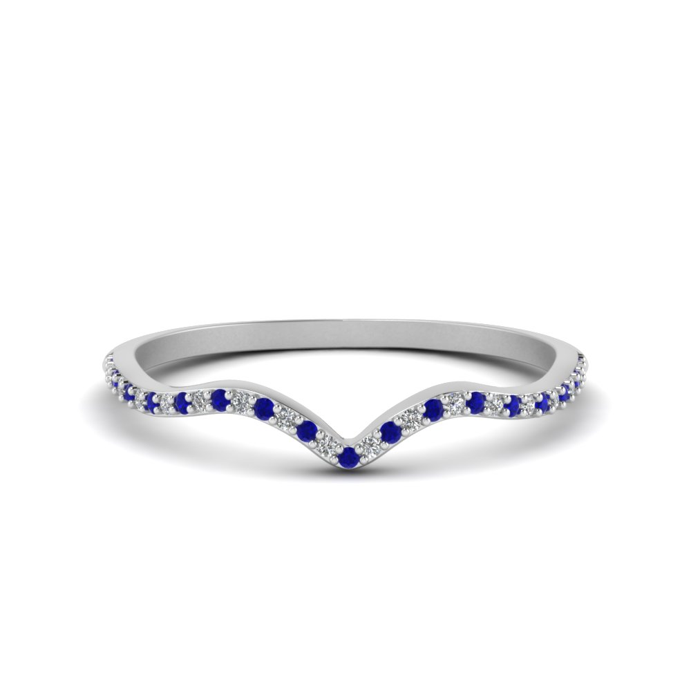 Thin Curved Band With Sapphire