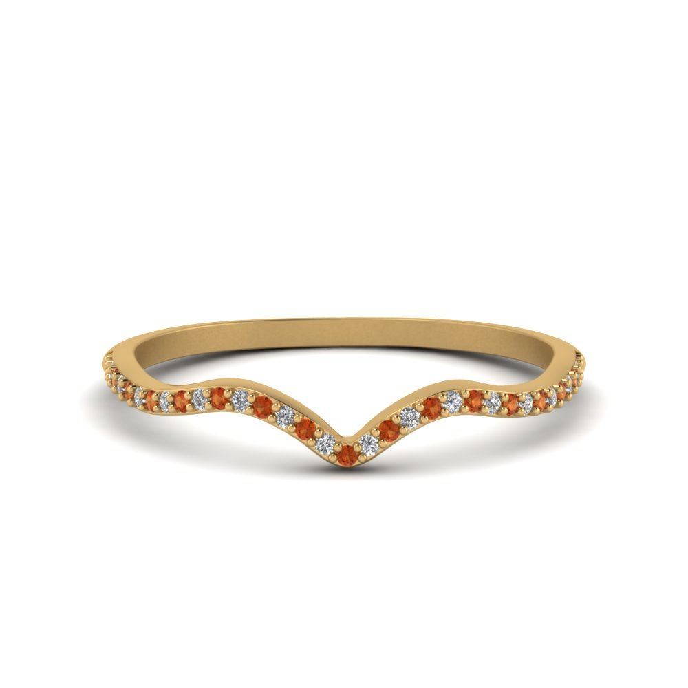 Orange Sapphire Thin Band