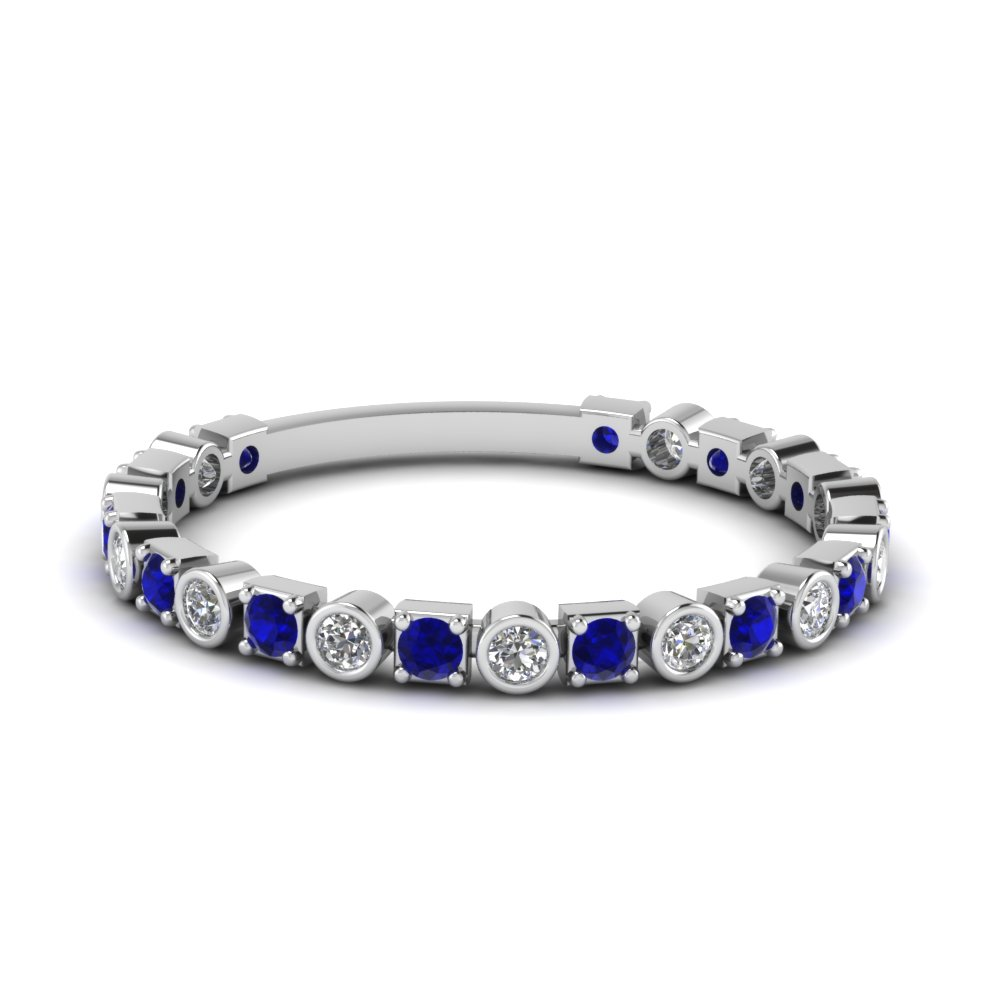 thin diamond anniversary band gift for women with sapphire in FD120583BGSABL NL WG